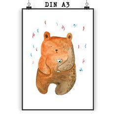 Poster DIN A3 Party - Bär aus Papier 160 Gramm  weiß - Das Original von Mr. & Mrs. Panda.  Jedes wunderschöne Poster aus dem Hause Mr. & Mrs. Panda ist mit Liebe handgezeichnet und entworfen. Wir liefern es sicher und schnell im Format DIN A3 zu dir nach Hause.    Über unser Motiv Party - Bär  Unser süßer Bär ist schon richtig in Stimmung - Konfetti & Drinks!     Verwendete Materialien  Es handelt sich um sehr hochwertiges und edles Papier in der Stärke 160 Gramm    Über Mr. & Mrs. Panda…