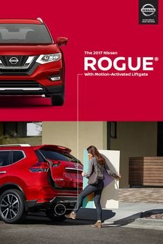 The 2017 Nissan Rogue offers a new available Motion-Activated Liftgate that gives you easy access when your hands are full. Easy hands-free access to Rogue's innovative Divide-N-Hide Cargo System makes Rogue ready for your next adventure.