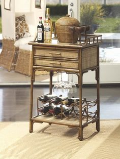 Hamilton Rattan Butler Table, Stained Brown $400
