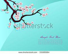 Sakura pink flower in bluebackground vector text design - stock vector