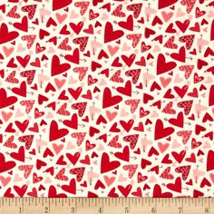 Moda Kiss Kiss Hearts Galore Cloud from @fabricdotcom  Designed by Abi Hall for Moda, this cotton print is perfect for quilting, apparel and home decor accents. Colors include red, pink, blush, and white.