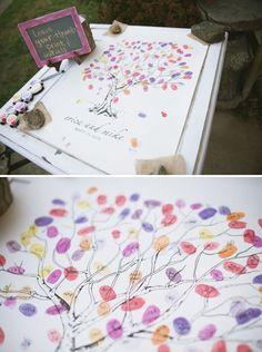 Ideas para bodas: árbol de huellas dactilares para libro de firmas