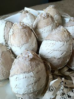 textured Easter eggs with decoupaged vintage script