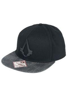 """Cappellino con visiera """"Syndicat Metal"""" di #AssassinsCreed, regolabile con logo in metallo frontale e ricamo."""