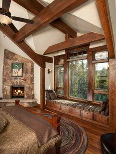 Hardwood, Exposed Beams, Rustic, Built-in bookshelves/cabinets, Stone, Flush/Semi-Flush Mount, Wall sconce
