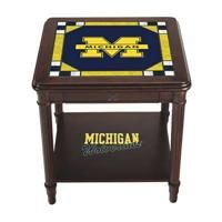 Michigan Wolverines Stained Glass End Table - The Danbury Mint