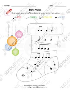 Music Worksheets – Holidays – Note Values