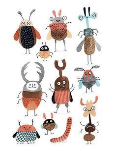Bugs / Petites Bêtes is a print of an original piece in watercolour by Elise Gravel . Each x 11 inch archival quality giclée print Art Mignon, Insect Art, Children's Book Illustration, Art Plastique, Doodle Art, Cute Art, Art Lessons, Painting & Drawing, Art For Kids