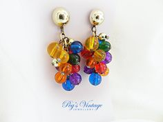 Retro Vintage Cluster Dangle Grape by PegsVintageJewellery on Etsy, $12.00