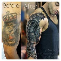 Tribal Art Tattoos, Lion Forearm Tattoos, Mens Lion Tattoo, Tribal Sleeve Tattoos, Japanese Sleeve Tattoos, Cover Up Tattoos For Men, Black Tattoo Cover Up, Cover Tattoo, Tattoos For Guys