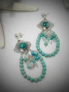 Turquoise and Moonstone Dangle Earrings from Patty Kreider by DumbBlondeJewelry on Etsy