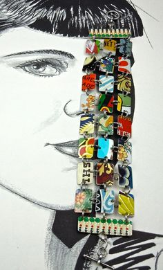 Recycled Upcycled Bracelet made from Various Vintage Tin Can Pieces. $167.00, via Etsy.
