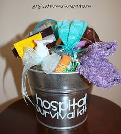 "Hospital Survival Kit for Mom-To-Be  Everything you need for a mom-to-be packaged in a cute ""Hospital Survival Kit"" bucket"
