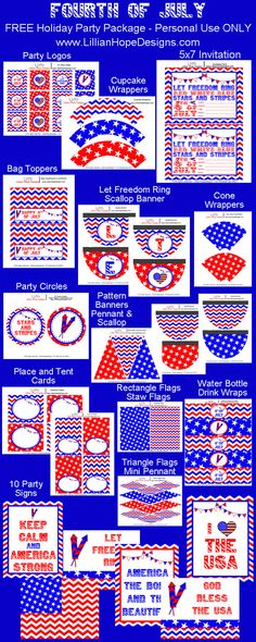 Free Fourth Of July Printable - July Printable Party Package - Fourth Of July Decorations - Red White and Blue - Flag Printable - Chevron - Stars and Fourth Of July Decor, 4th Of July Decorations, 4th Of July Party, July 4th, Party Printables, Free Printables, Independence Day Activities, Party Logo, American Party