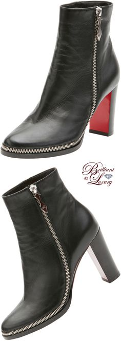 Brilliant Luxury ♦ Christian Louboutin Telezip Crinkled Red Sole Ankle Boot