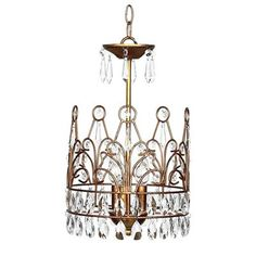 A gold crown chandelier for a nursery. Works for a boy or a girl.