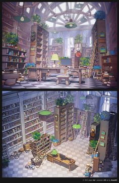 This is how I envision my library. How do you see yours?!   Library by *arsenixc on deviantART