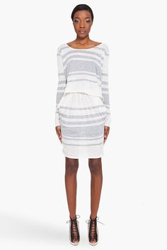 MM6 MAISON MARTIN MARGIELA // Cream and Grey Striped Dress
