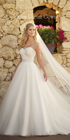 Ella Bridals 5647 is a Gorgeous Satin and Tulle Gown A-Line Gown with Satin Pleated Sweetheart Neckline, Beautiful Beaded Natural Waist Band, Tulle A-Line Skirt with Chapel Train, Back Zipper Close.