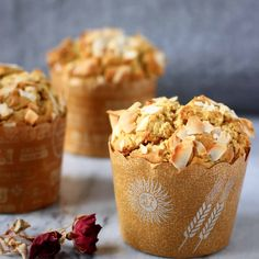 TheseGluten-Free Vegan Carrot Muffins are moist and fluffy, fragrant, fruity and nutty, and perfect for a healthy breakfast! Refined sugar free.