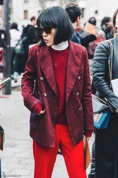 Pfw Paris Fashion Week Fall 2016 Street Style Collage Vintage Red Burgundy