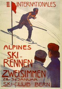 1905 Zweisimmen, III Internationales Alpines Ski-Rennen, Ski-Club Bern, Swiss vintage travel sport poster
