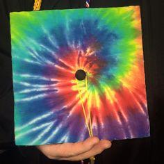 Tye dye graduation cap