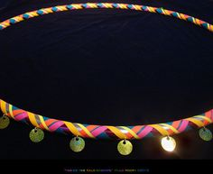 Colorful Rainbow Hula Hoop with Big Sparkley Sequins- Wild Neon Gaffer Tapes in a Plaid Cross Weave Pattern