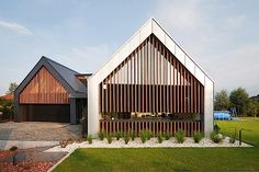 Two Barns House / RS+/This is an exterior design for modern barn style that I like. Contemporary Barn, Contemporary Architecture, Roof Architecture, Residential Architecture, Houses In Poland, Modern Barn House, Roof Design, Exterior Design, House Roof