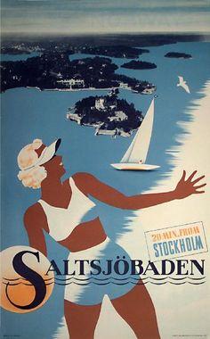 Sweden, 1937 Salts Joebaden Vintage travel beach poster , deco style #essenzadiriviera.com