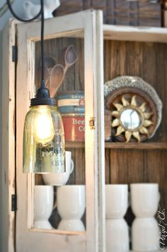 DIY Farmhouse Light - With a Mason Jar! diy farmhouse light with a mason jar, mason jars Farmhouse Lighting, Dining Lighting, Farmhouse Diy, Mason Jar Lighting, Farmhouse Lighting Dining, Home Decor, Vintage Farmhouse, Farmhouse Dining Room Lighting, Diy Home Decor Projects