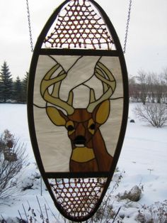 White Tail Buck Stained Glass Snowshoe