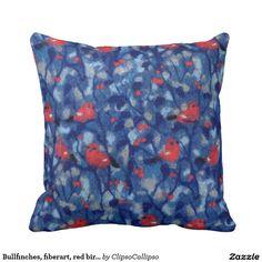Bullfinches, fiberart, red birds in the blue trees pillow  #bird, #birds, #bullfinch, #bullfinches, #blue, #red, #art, #forest, #garden, #nature, #funny, #lovely, #fiber, #branches, #trees, #tree, #fiberart, #wool, #painting, #scarlet, #crimson, #vermilion, #berries, #berry, #pillow