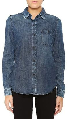 $69, Navy Denim Shirt: AG Jeans The Finch Shirt Cliffside. Sold by AG Jeans. Click for more info: https://lookastic.com/women/shop_items/264188/redirect