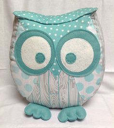 Chubby owl pillow in grey and aqua by PantoufledeVerre on Etsy, $52.00