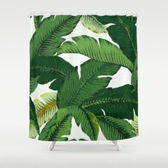 Palm Leaf Shower Curtain Banana Leaves Shower by HuntleighCo