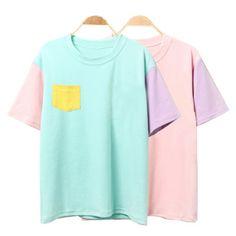 2016 Estilo Del Verano Mujeres de La Moda de Harajuku Patchwork Camisetas de Algodón de Manga Corta Camiseta Casual de Las Señoras Tops Lindos de Kawaii 3SHWT007