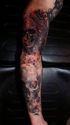Chronic Ink Tattoo - Toronto Tattoo Skull sleeve tattoo in progress, done by Csaba.