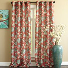 Glencove Floral Curtain Chili My New DR Drapes
