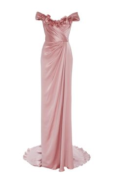 Off The Shoulder Satin Gown by MARCHESA Now Available on Moda Operandi