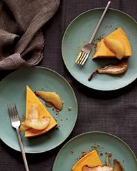 Pumpkin Cheesecake with Brown-Butter Pears | This ingenious cheesecake recipe calls for boxed cookies.