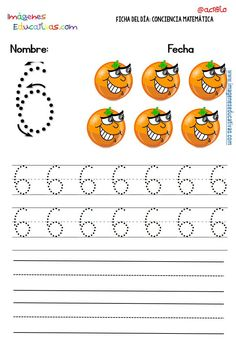 Fichas para trabajar los números (6) Number Tracing, Writing Numbers, Booklet, Diy Fashion, Alphabet, Homeschool, Diagram, Activities, Education