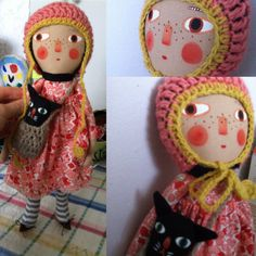 Folk art doll cat in a bag hobo by FolkbyJoliande on Etsy