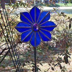 Blue Stained Glass Flower Garden Stake Suncatcher by Orlantha, $38.00