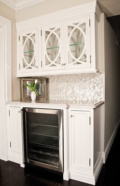 drink station/wet bar idea - like the wine fridge under. upper cabinets are nice too Kitchen Pantry Cabinets, Kitchen Redo, New Kitchen, Kitchen Remodel, Kitchen Design, Upper Cabinets, Cupboards, Kitchen Ideas, Glass Cabinet Doors