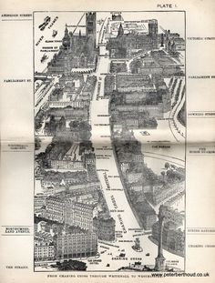"""From Charing Cross through Whitehall to Westminster -  A bird's-eye view from Herbert Fry's """"London"""" (1891)"""