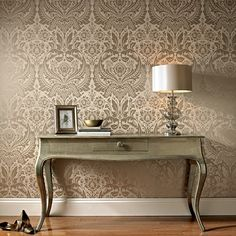 Desire Taupe / Metallic Wallpaper by Graham and Brown