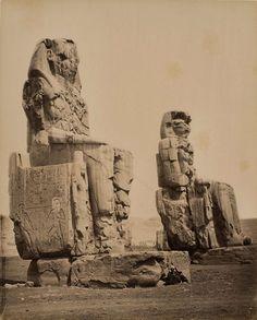 Égypte. Colosses de Memnon à Thèbes, avant 1878 | Photographe : Félix Bonfils