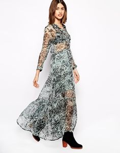 Image 1 of Ganni Tiered Printed Maxi Dress