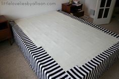 no-sew drop cloth bed skirt | For the corners loosely drape and pin the fabric in the same way. Don ...